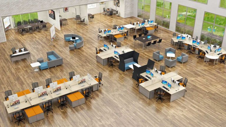 An open-office floor plan